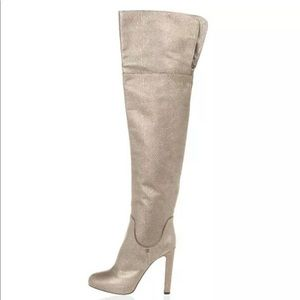 Sergio Rossi Metallic Leather Over The Knee Boots
